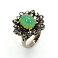 Natural Chrysoprase 925 Sterling Silver Ring Size 7.5/RF18-0286