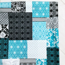 """Quilting Cotton Fabric 22"""" Large Remnant Patchwork Turquoise Geometric Floral"""
