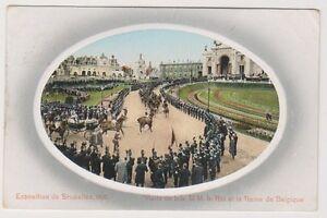 Bruxelles Exhibition 1910 postcard - Visite de LL MM le Roi et la Reine Belgique