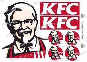 "KFC for Bucket Cake & 2""/5cm Cupcake Toppers Edible Icing Print"