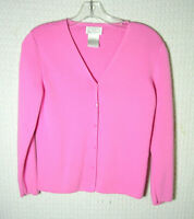 Designers Petite Originals Pink Cotton V-Neck Cardigan Sweater Womens PM (Small)