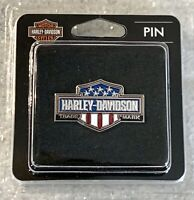 Harley-Davidson® Pin, Bar & Shield Logo, Red White & Blue Enamel Silver-NEW