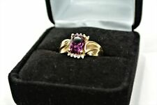 14K Yellow Gold Ring with Plum Violet Stone and Diamond Accents