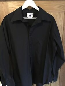 JOHN FRANCOMB LONG SLEEVE BLACK SHIRT COTTON 46 CHEST