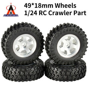 4x 49*18mm Wheel Metal Rims Rubber Tires for RC Crawler Car Axial SCX24 90081