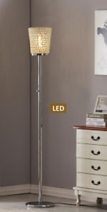 """71"""" Chrome/Brass/Gold Fifth Avenue Crystal LED Torchiere Floor Lamp"""