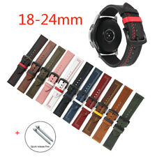 Retro Dual Colors Leather Strap For Huawei Samsung Galaxy Watch 22mm 18 24 20mm