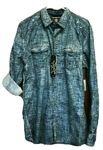 Tranquility Mayhem Mens Blue Shirt Size Medium Button Front Long Sleeve New