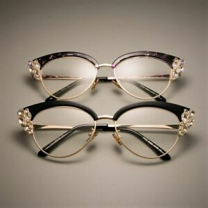 Cat Eye Eyeglasses Women Optical Eye Wear With Shiny Rhinestones Glasses Frames