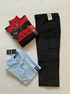 Lot Of 3 New Boys Size 5 Chaps Zip Sweater Blue Shirt Polo Red Black Pants Dress