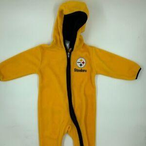Pittsburgh Steelers NFL Boys Fleece Footed Pajamas Yellow Hooded Zip 18 Months