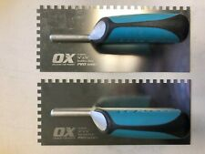 "OX Tools Pro Stainless Steel Square 1/4"" Notch Trowel - 2 Pack"