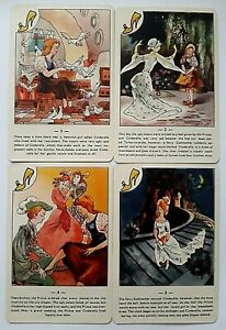 VINTAGE PLAYING CARDS CARD GAME FAIRY TALES 40 LARGE CARDS RULES & BOX 1950