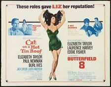 CAT ON A HOT TIN ROOF BUTTERFIELD 8 half sheet movie poster ELIZABETH TAYLOR
