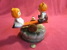 Vintage Animated See Saw Raggedy Ann Andy Ceramic Music Box Action Lobeco