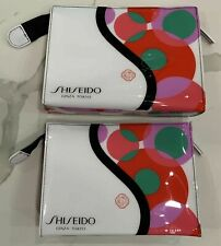 SHISEIDO Ginza Tokyo white red green makeup bag cosmetic pouch case X lot 2 New!