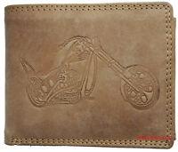 Hochwertige Geldbörse Geldbeutel Portemonnaie Büffel Leder Motorrad Choppe Wild