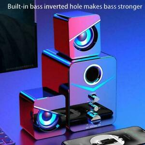 Subwoofer Computer Speakers USB Wired LED Bass Stereo Player PC For Laptop S3J2