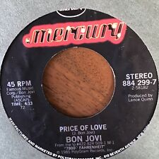 "BON JOVI - SILENT NIGHT B/W PRICE OF LOVE 7"" Vinyl Mercury 884 299-7"