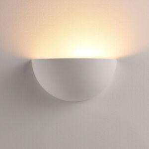 LED-Wandlampe Narin Gips Weiß Wandfluter Lampenwelt Halbkugel Bemalbar easydim