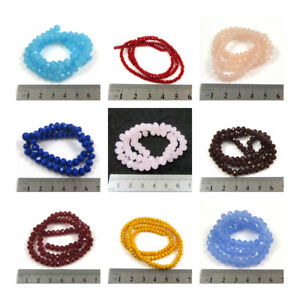RONDELLE OPAQUE CRYSTAL BEADS *14 COLOURS* *3 SIZES* BRIDAL JEWELLERY MAKING