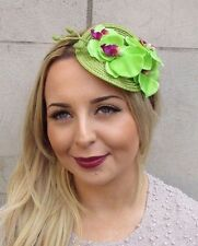 Green Orchid Flower Fascinator Races Headband Headpiece Rockabilly 1950s 3013