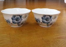 2 LENOX BUTTERFLY MEADOW BLUE BLOSSOM RICE BOWLS FLOWER BEE LADY BUG 16 OZ NEW