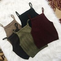 Womens Girls Sleeveless Knit Crop Tops Casual Tanks Fashion Cami Vest Blouse
