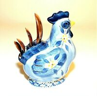 Temp-Tations Presentable Ovenware Blue Chicken Rooster Measuring Spoon Holder