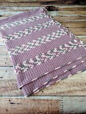 "Crochet Afghan Blanket Mauve Pink, Grey shades 48""x72"" Throw Size Hand Crocheted"
