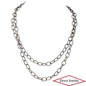Estate 14K Gold Sterling Silver 36'' Long Fancy Cable Link Necklace 27.2 Gr NR