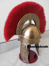 ANCIENT BRASS REPRODUCTION FINISH ROME HBO ARMOR HELMET REPLICA RED PLUME GIFT