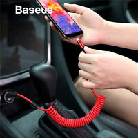Baseus Coiled Spring Lightning Data Cable Fast USB Car Charger for iPhone X 8 11