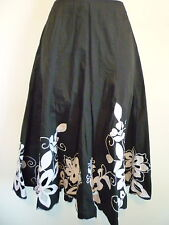 Allison Taylor S 4 5 6 black white floral embroidered A-line bubble flare skirt