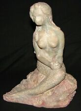 Resin Mermaid Statue Sitting on a Rock Holding a Shell Artist Signed