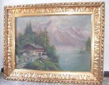 antikes Ölgemälde Berg Landschaft im schweren gold Holzrahmen 94 x 75 x 7 cm