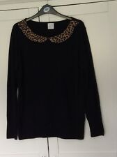George Black Jumper With Tiger Print Collar, Size 18