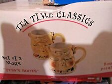 Set of 2 NEW Block Jonal Tea Time Classics Puss N Boots 3 D Mugs 4 1/2""