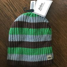 Quiksilver VINTAGE Beanie Slouch Toque Sample - Gray Green Stripe- Rare