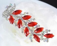 "3.5""  PEACOCK  BROOCH PIN WITH CZ & RED DIAMANTE RHINESTONE CRYSTAL"
