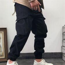 Men Cargo Work Pants with Belt Retro Look Heavy Duty Trousers Army Multi Pockets