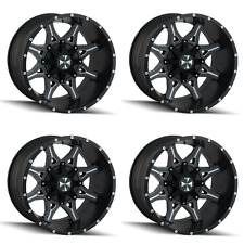 "Set 4 20"" Cali Offroad Obnoxious 9107 Black Milled Rims 20x9 8x6.5 Chevy 8 Lug"
