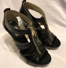 Michael Kors 4568 Front Zip Strappy Sandals 627, Black Patent, 7.5M US