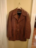Vintage heavy leather pea coat by Imperial