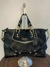 COACH ASHLEY Black Gathered Sateen Convertible Shoulder Tote Satchel F20084