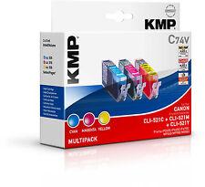Original KMP Vorteilspack C74V für Canon CLI-521 C M Y Pixma iP3600 4600 MP540