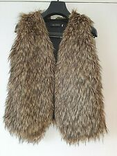 Wenxi Womens Brown/Natural Faux Fur Gilet Medium Size