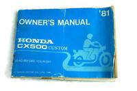 Owner's Manual 1981 Honda CX500 Custom Motorcycle