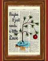 Charlie Brown Christmas Tree Dictionary Art Print Picture Poster Peanuts Holiday