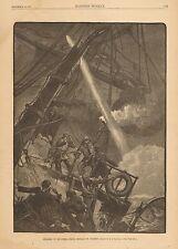 Navy, Disabled In Mid Ocean, Firing Signals Of Distress, 1881 Antique Art Print